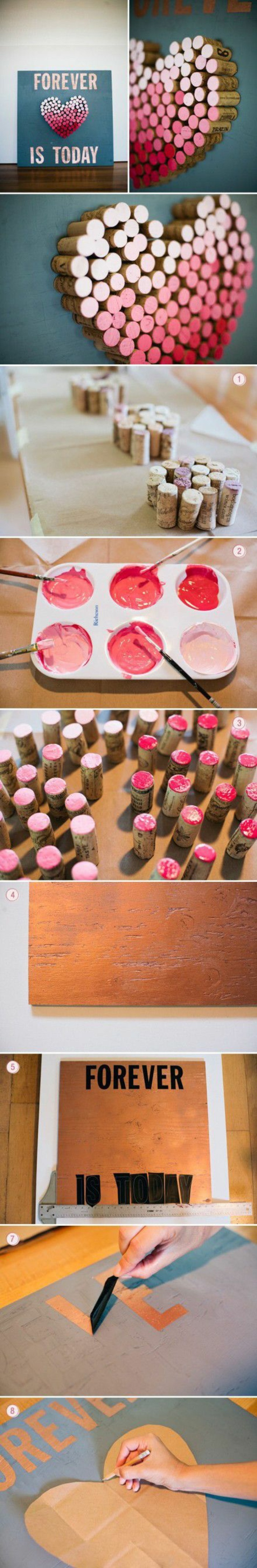 shades of pink paint, corks arranges in the shape of a heart, craft gifts, diy tutorial, step by step