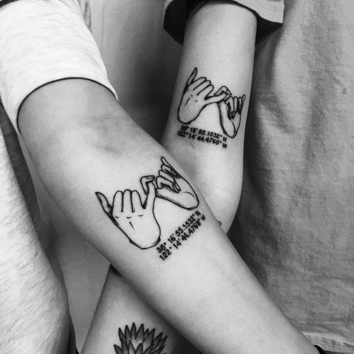 small bestfriend tattoos, pinky swear, geographical coordinates, inside arm tattoos, black and white photos