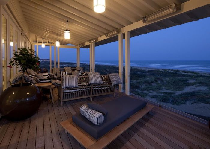 wooden garden furniture, grey black and white throw pillows, front porch designs, ocean view