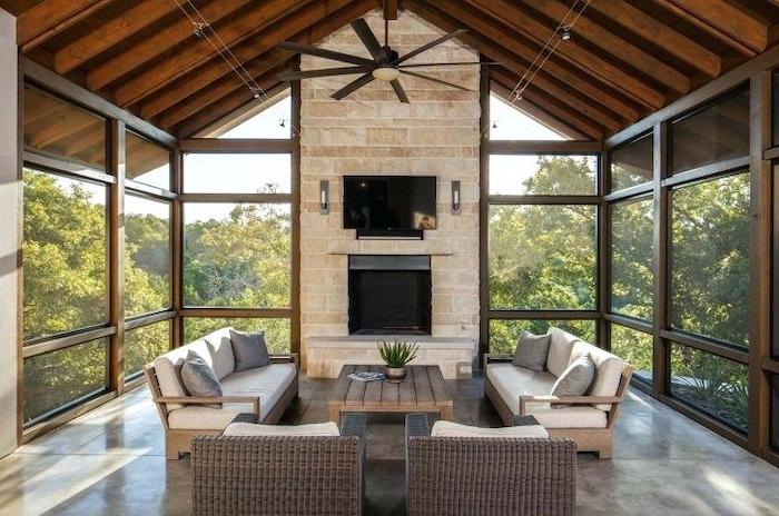 front porch ideas, screened in porch, wooden garden furniture, white cushions, grey throw pillows