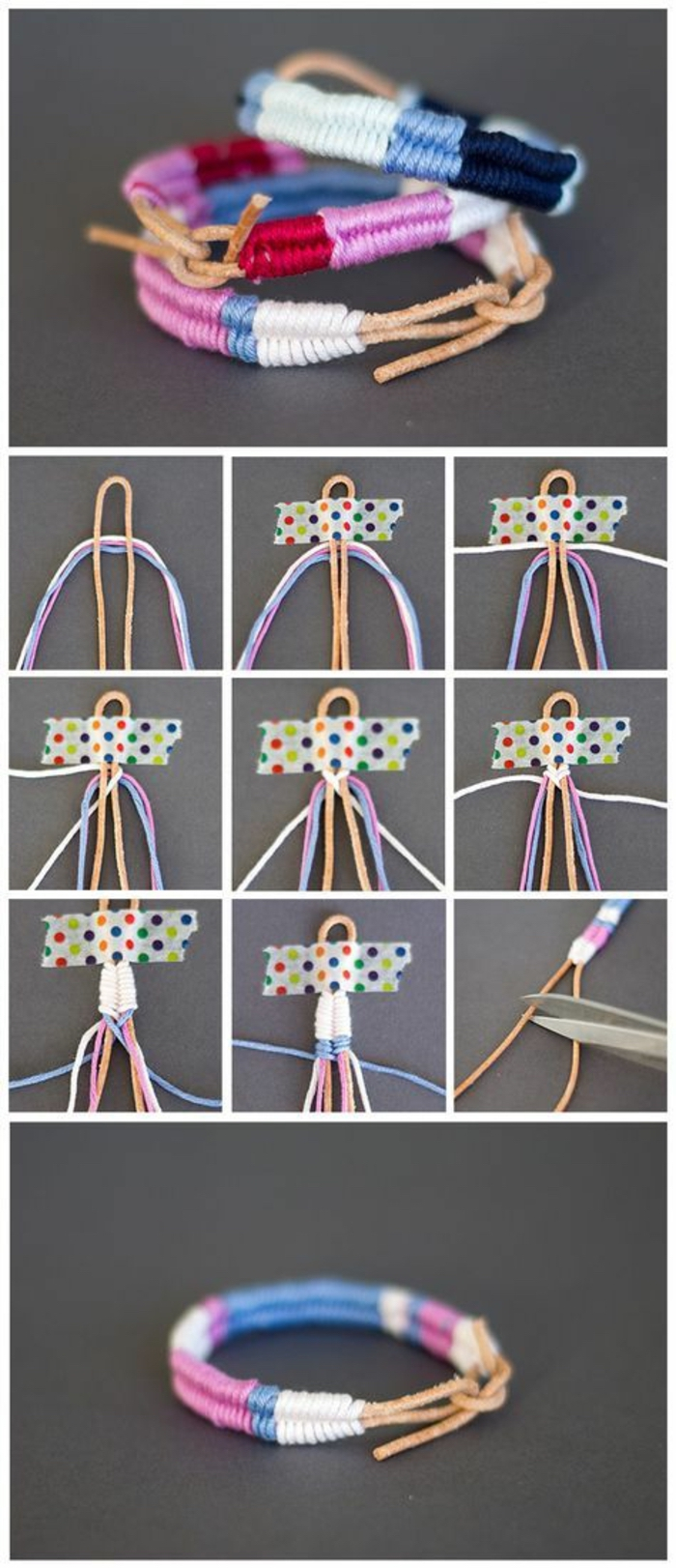 braided bracelet, craft gifts, colourful yarn, diy tutorial, step by step