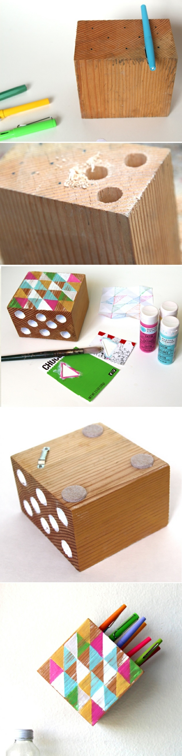 step by step, crafts for adults, diy tutorial, colourful wooden box, pencil holder