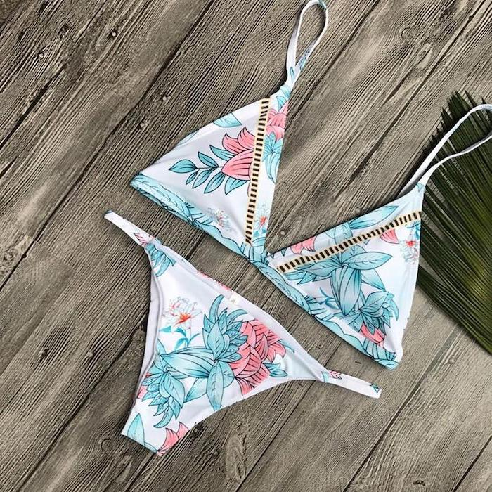 two piece, floral print, cute bathing suits for girls, wooden background, palm leaf