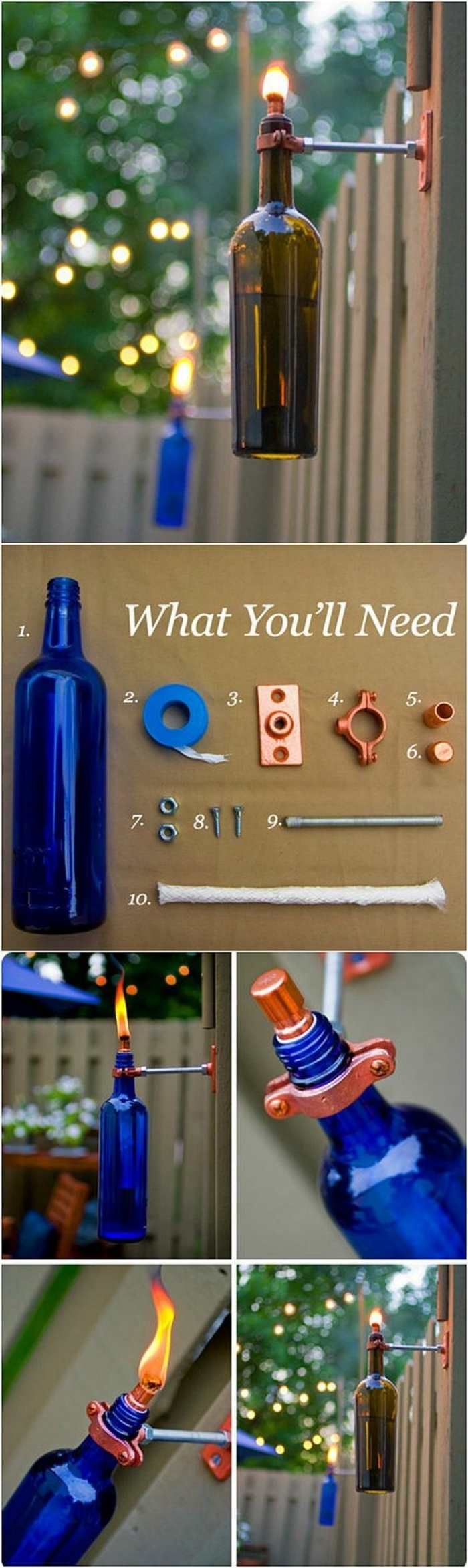 bottle lanterns, painted in blue, craft gifts, diy tutorial, step by step