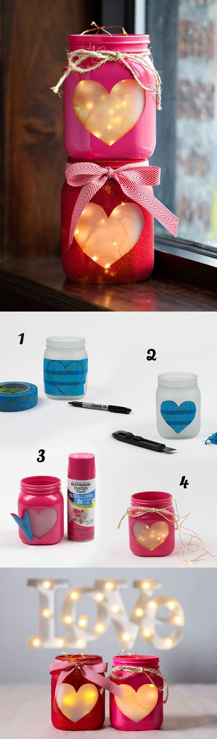 mason jars, filled with fairy lights, what to do when your bored for kids, pink and red paper