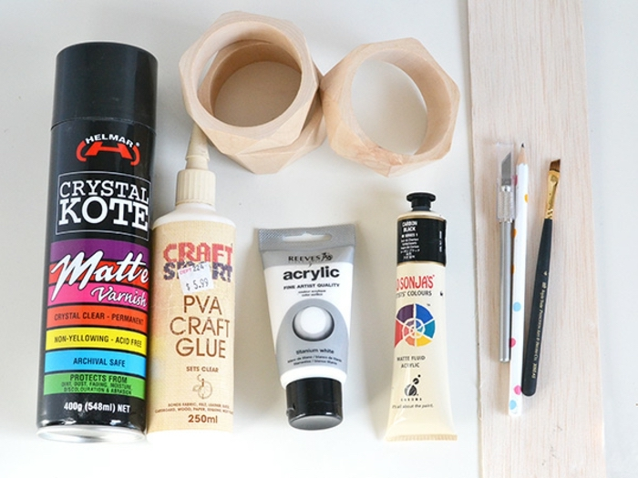 spray paint, acrylic paint, craft glue, cool diys, wooden bangles, diy tutorial