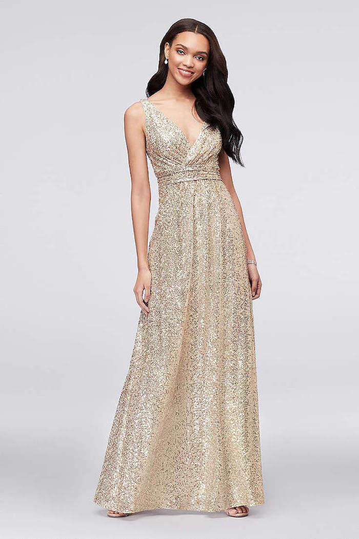 black wavy hair, beaded bridesmaid dresses, v neckline, gold sequin dress