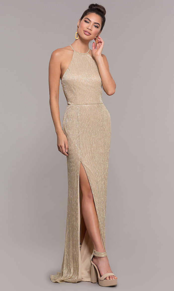 brown hair, in a high updo, gold bridesmaid dresses, nude sandals
