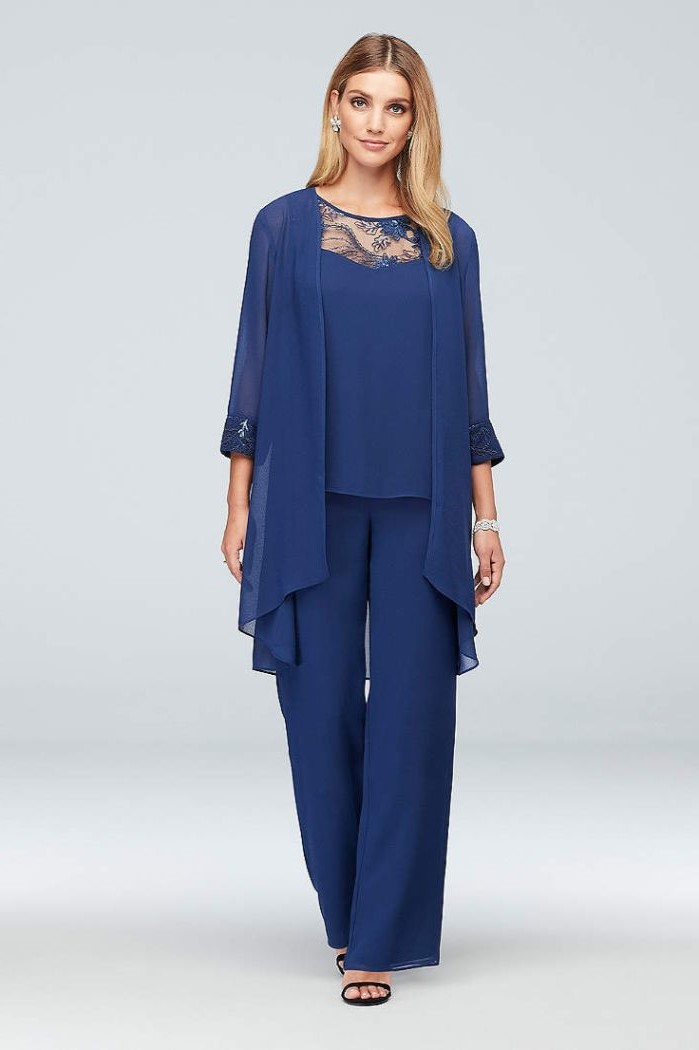 three piece, blue suit, mother of the bride dresses long, chiffon and lace, black sandals, blonde hair