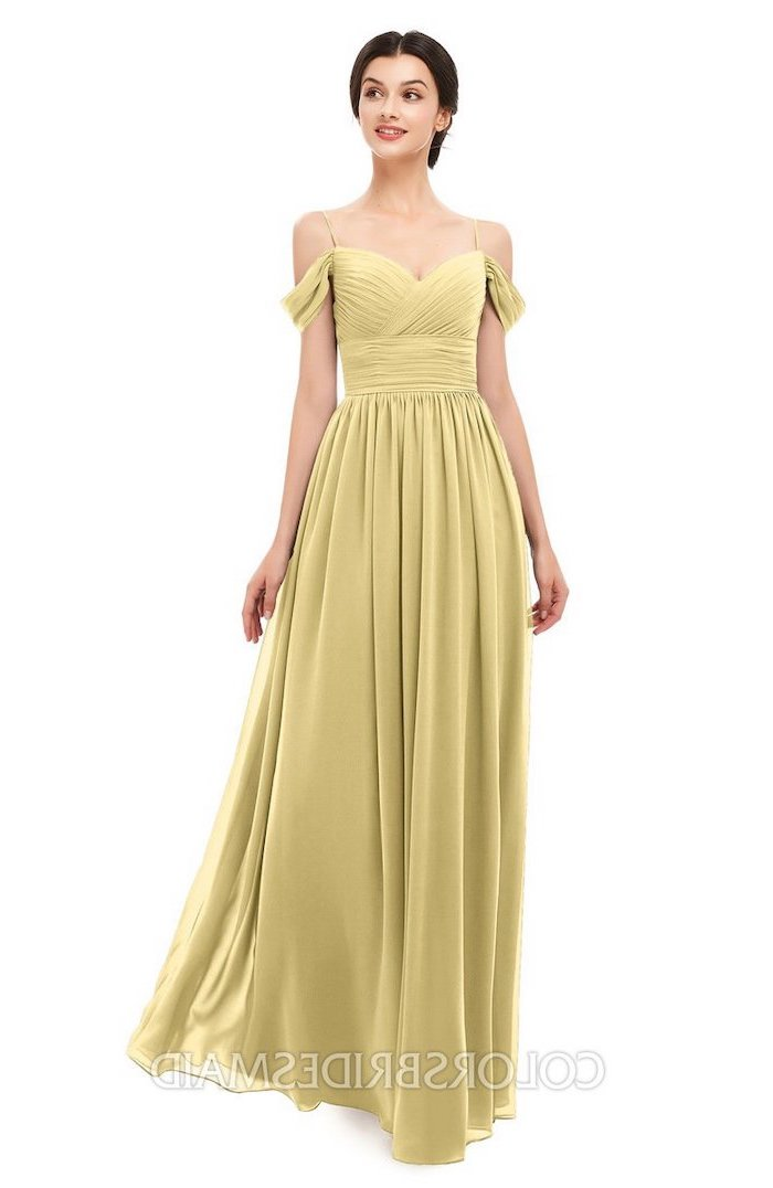 designer bridesmaid dresses, chiffon dress, off the shoulder necklines, brown hair, in a low updo