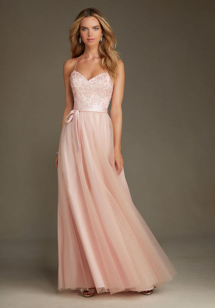 rose gold top, chiffon skirt, spaghetti straps, designer bridesmaid dresses, blonde wavy hair