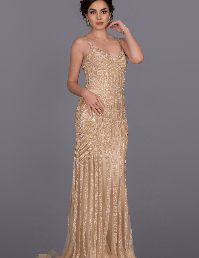 gold sequins, gold bridesmaid dresses, black hair, in a low updo, spaghetti straps