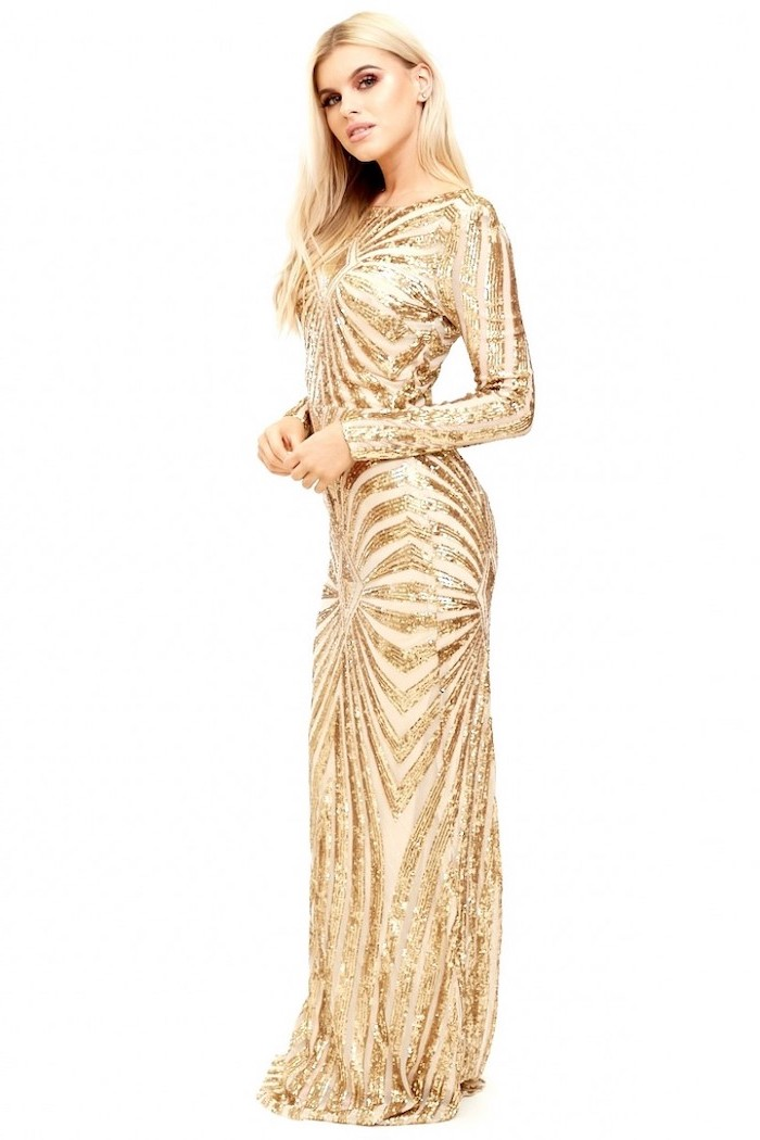 gold dress, gold sequin bridesmaid dresses, long sleeves, long blonde wavy hair