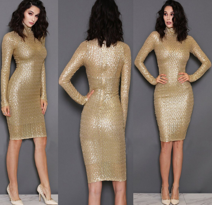 black curly short hair, nude shoes, above the knee dress, gold sequin bridesmaid dresses