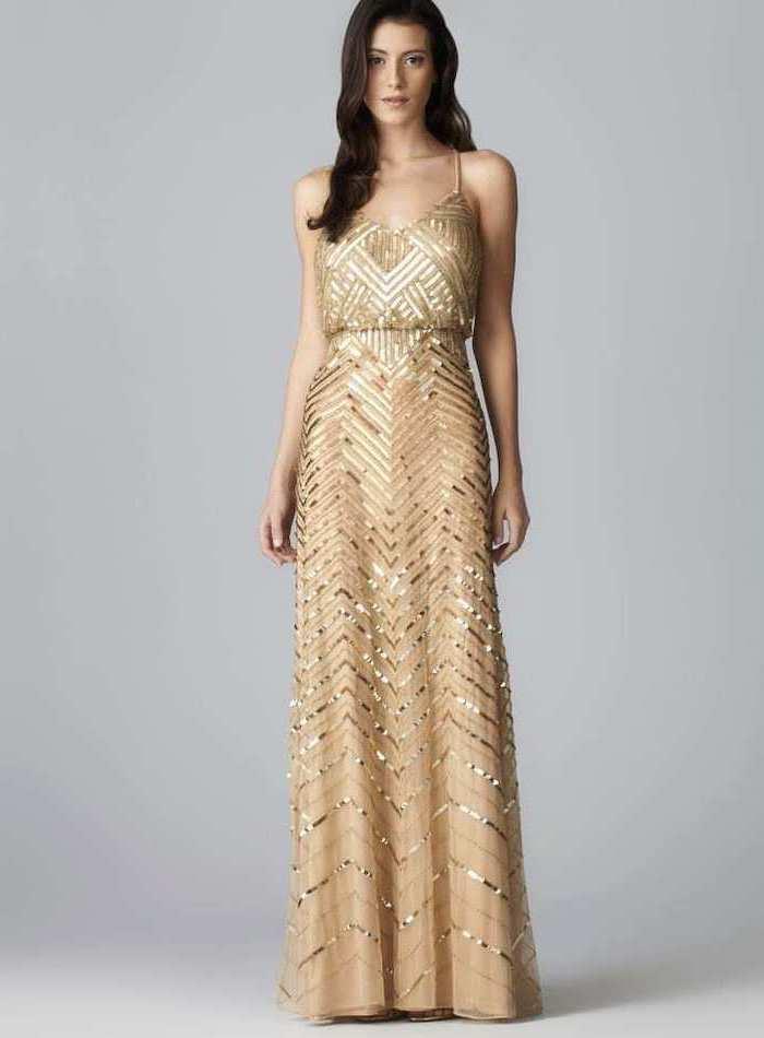 gold sequin dress, spaghetti straps, designer bridesmaid dresses, black wavy hair