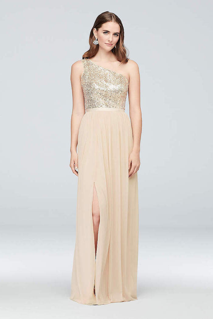 gold sequin, one shoulder top, chiffon skirt, designer bridesmaid dresses, brown wavy hair