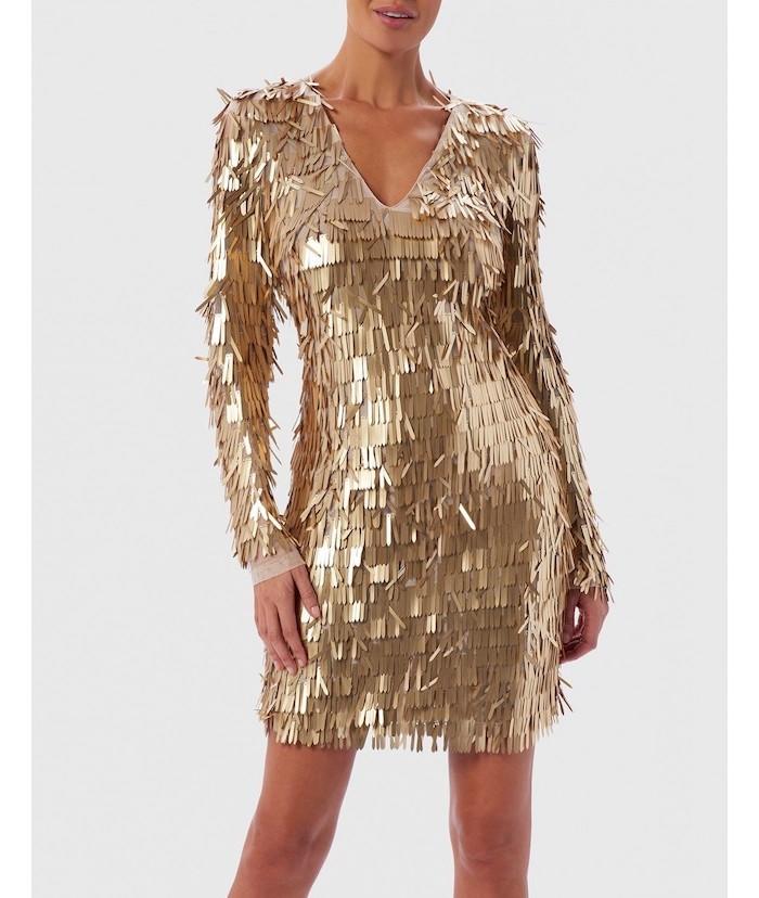 gold sequins, short dress, v neckline, long sleeves, designer bridesmaid dresses