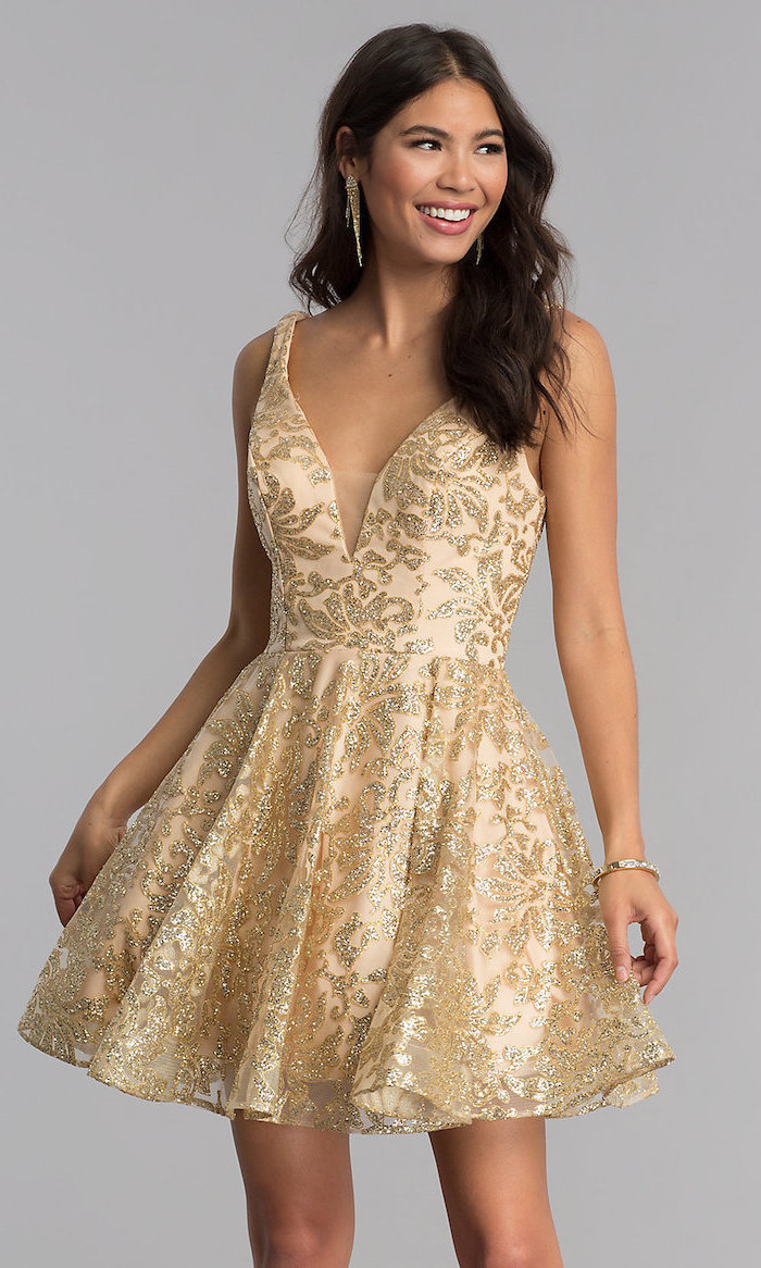 long brown curly hair, gold sequinned dress, bridesmaid dresses, v neckline