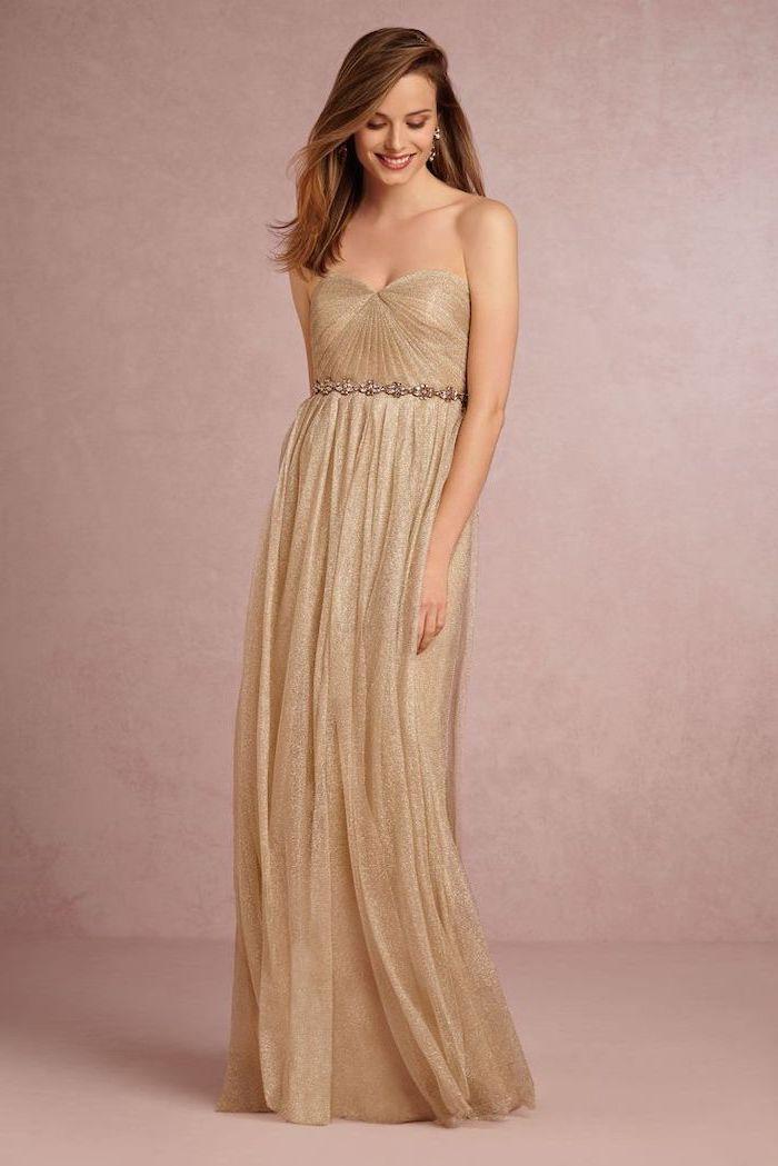 fall bridesmaid dresses, gold strapless dress, long brown wavy hair