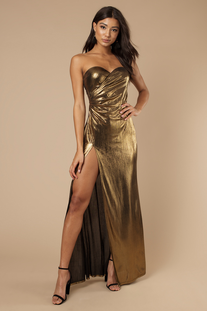 gold bridesmaid dresses, strapless gold dress, brown wavy hair, black sandals