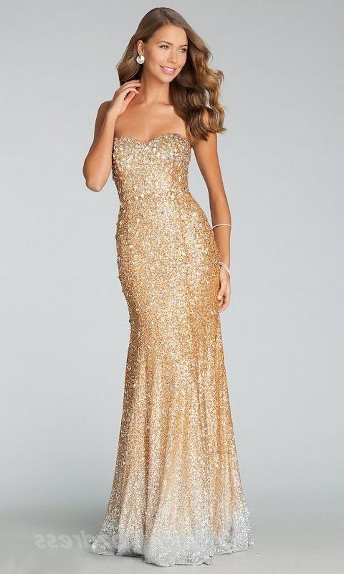 strapless gold, fall bridesmaid dresses, sequinned dress, brown wavy hair