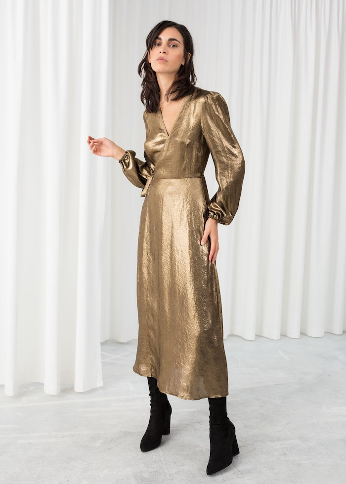 gold wrap dress, black velvet boots, fall bridesmaid dresses, brown wavy hair, long sleeves