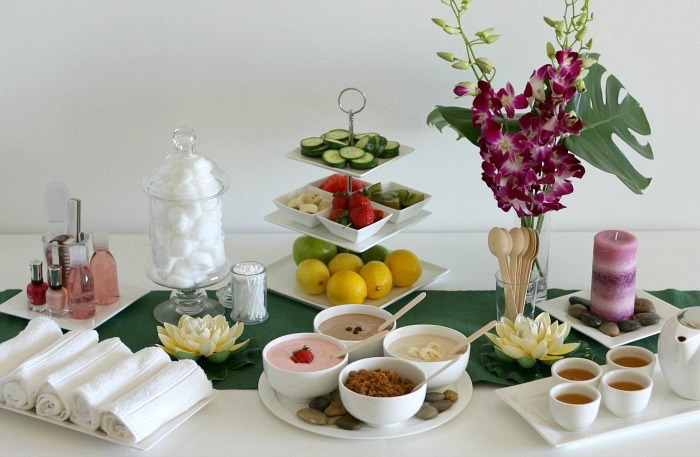 spa theme, fruits and vegetables, folded towels, party theme ideas, oatmeal in white bowls