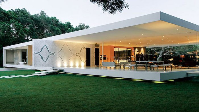 contemporary house, screened in porch designs, green grass field, tiled pathway, garden furniture