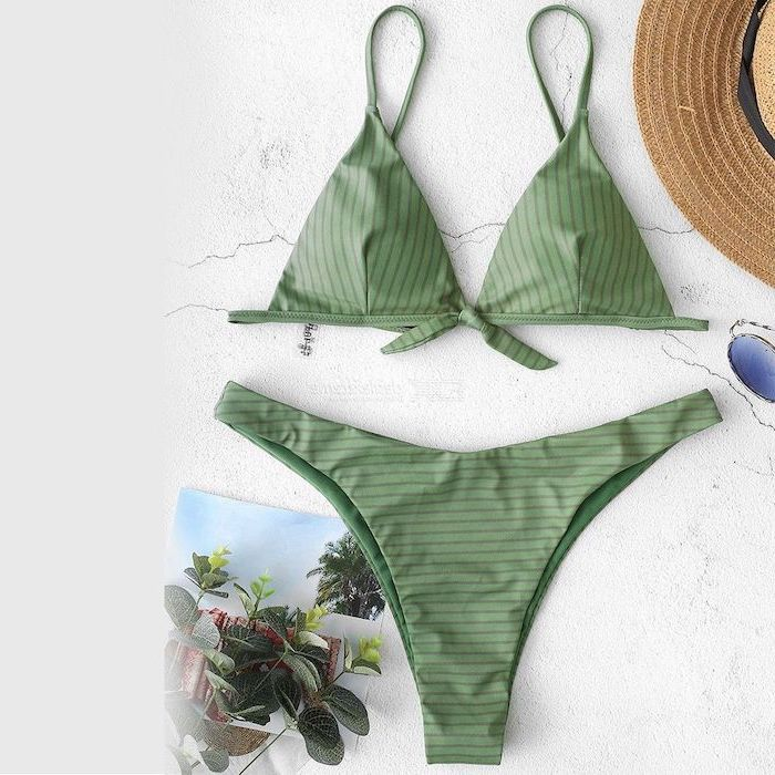 olive green, two piece, high waisted bottom, toddler mermaid swimsuit, straw hat, white background