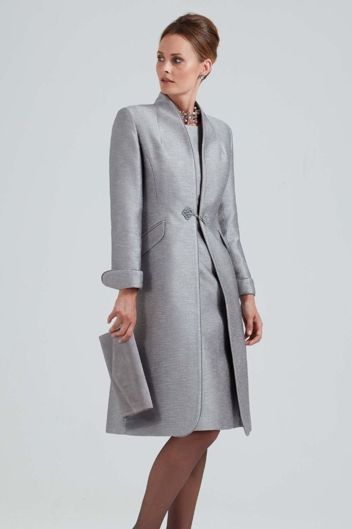 grey suit, dress and coat, mother of the bride dresses long, blonde hair, in a low updo