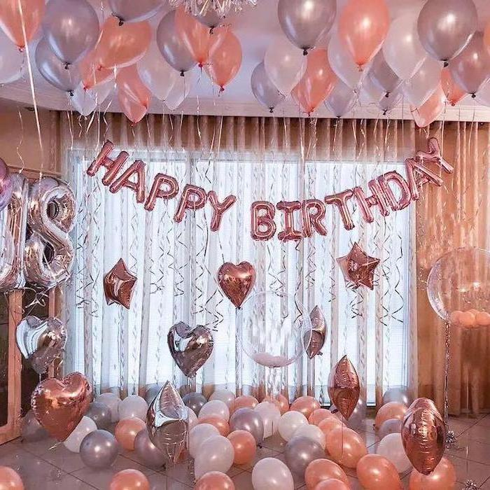 rose gold, happy birthday balloons, grey orange and white balloons scattered, birthday party ideas for boys