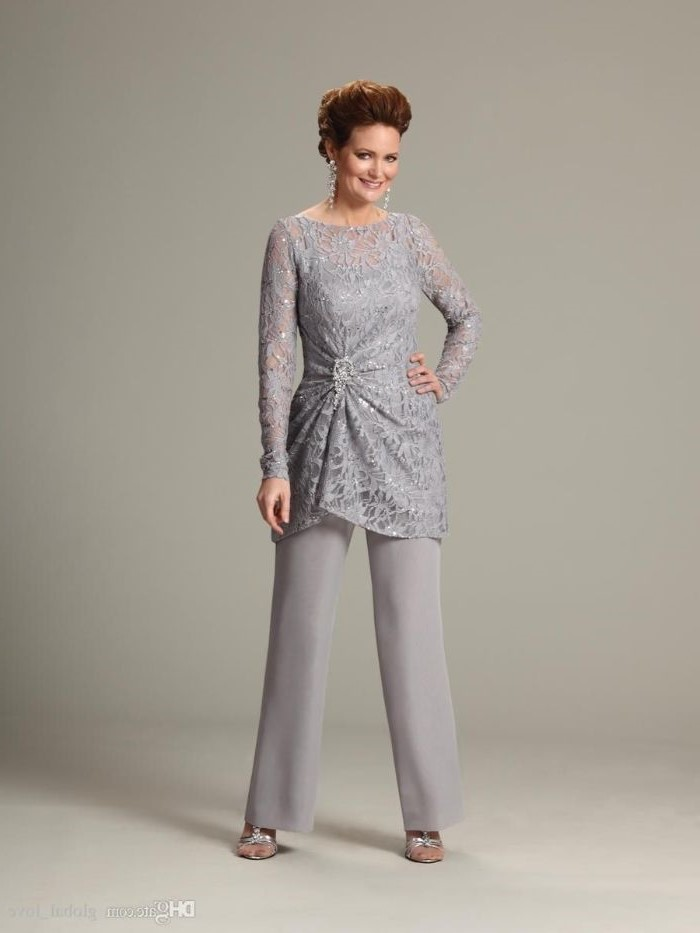 grey lace top, with long sleeves, chiffon pants, champagne mother of the bride dresses, brown hair, in a low updo