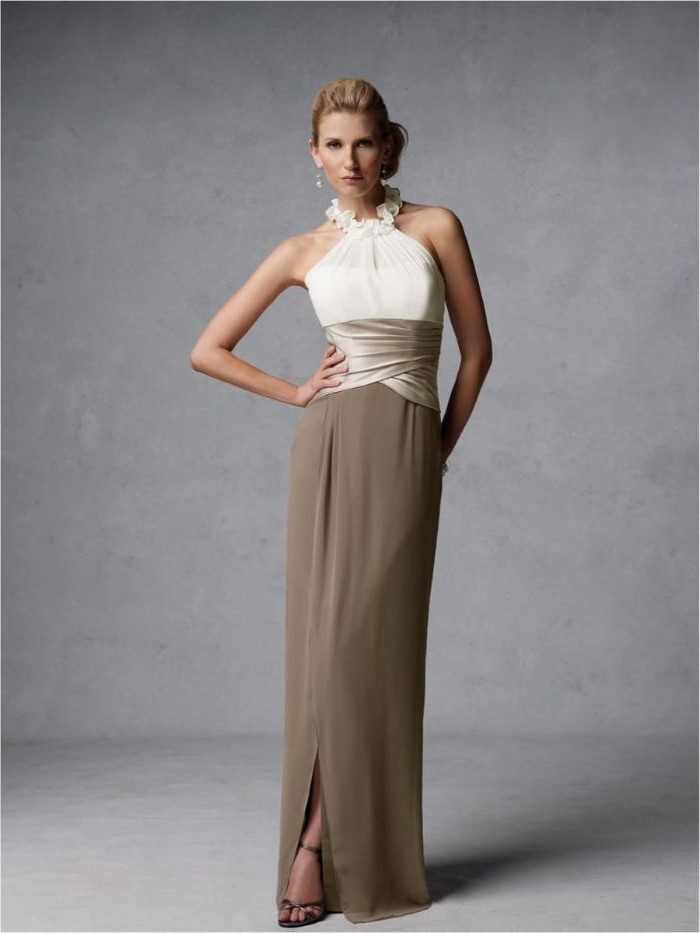white top, chiffon skirt, halter neck, champagne mother of the bride dresses, blonde hair, in a low updo