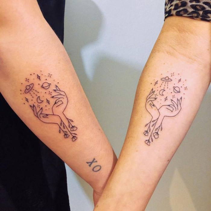 hands with flowers, planets and stars, forearm tattoos, small bestfriend tattoos, white background
