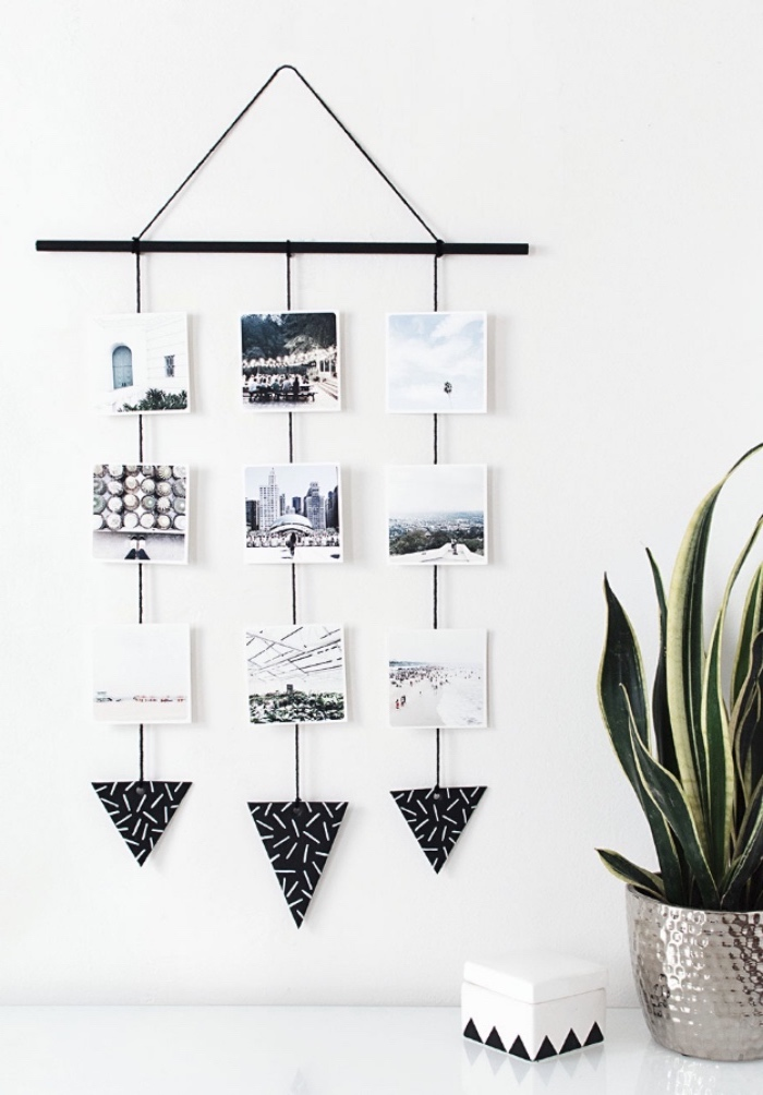 hanging wall photo decor, creative things to do when bored, white wall, potted plant