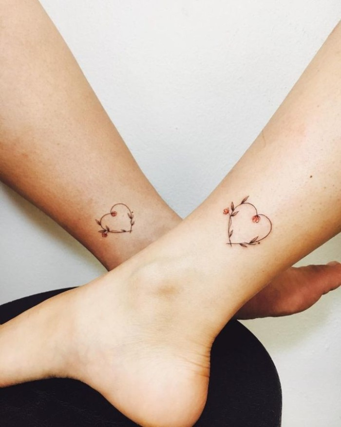 hearts and flowers, ankle tattoos, best friend tattoo ideas, white background