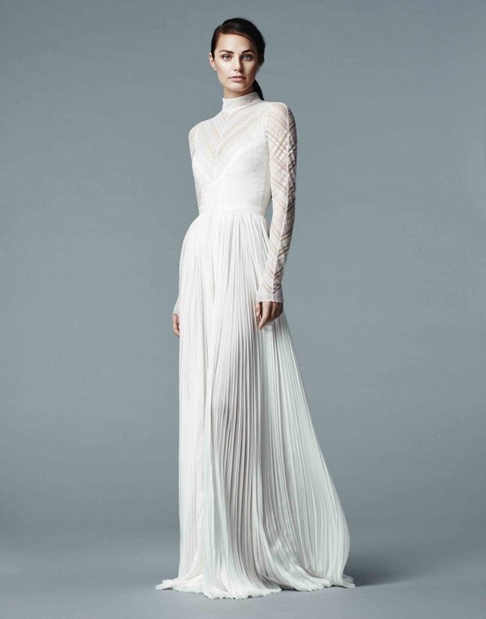 pleated dress, high neck, wedding dresses with long trains, black hair, in a low ponytail