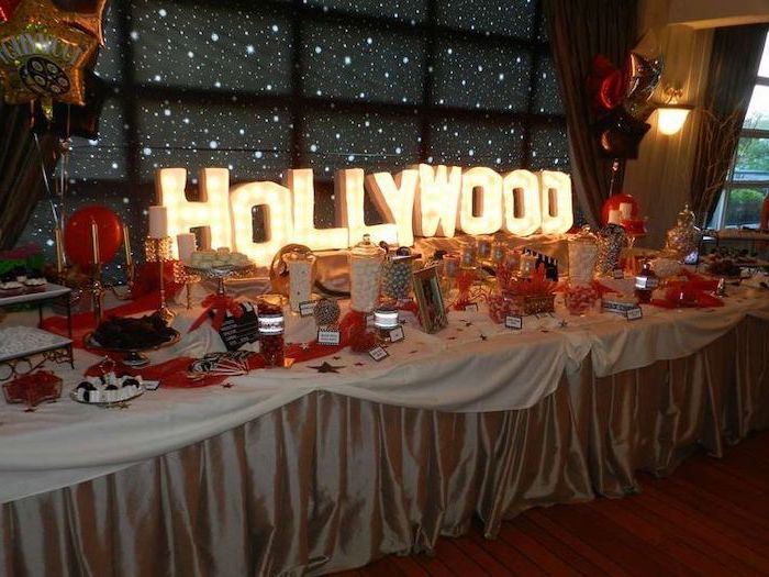 hollywood lights sign, black red and gold, fun birthday ideas, candies and sweets, in large jars
