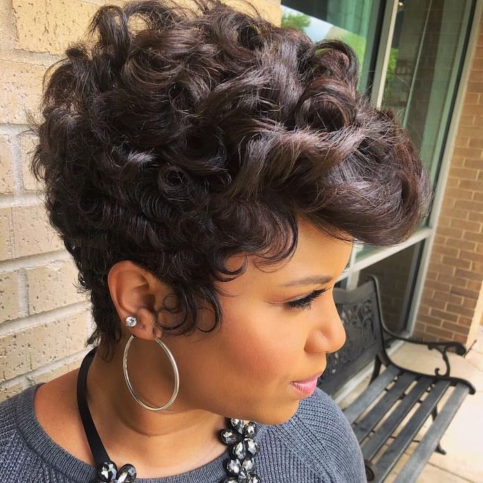 black hair, short curly hairstyles for black women, hoop earrings, grey sweater