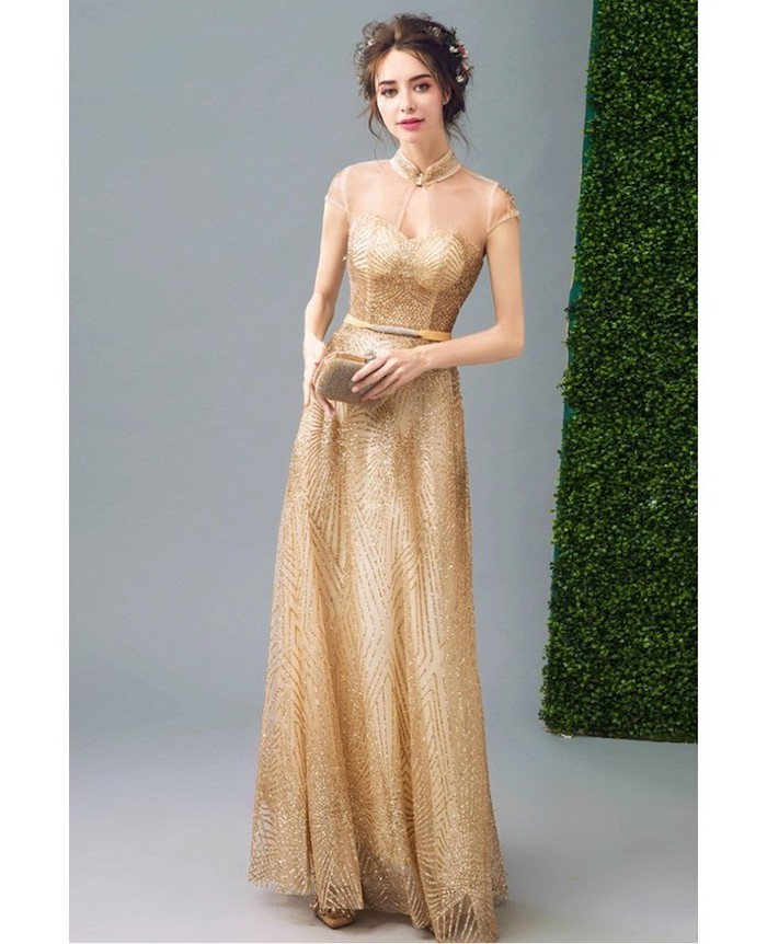 illusion neckline, gold tulle, fall bridesmaid dresses, brown hair, in a messy updo