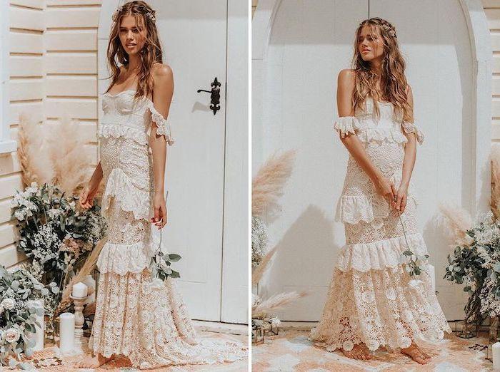 long brown wavy hair, vintage dress, wedding dresses for beach wedding, floral crown