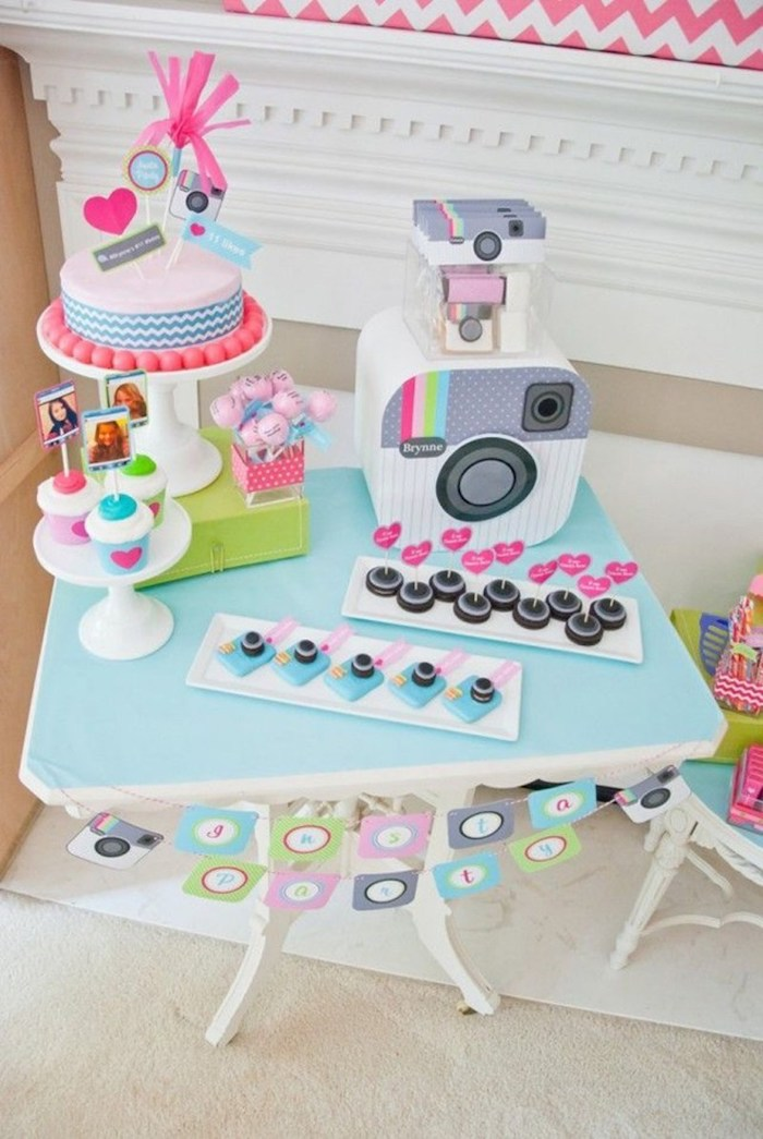 instagram theme, fun birthday ideas, insta party, cupcakes and cake, cake pops