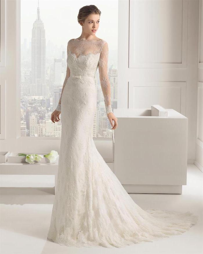 empire state building, lace wedding gowns, white furniture, brown hair, in a low updo