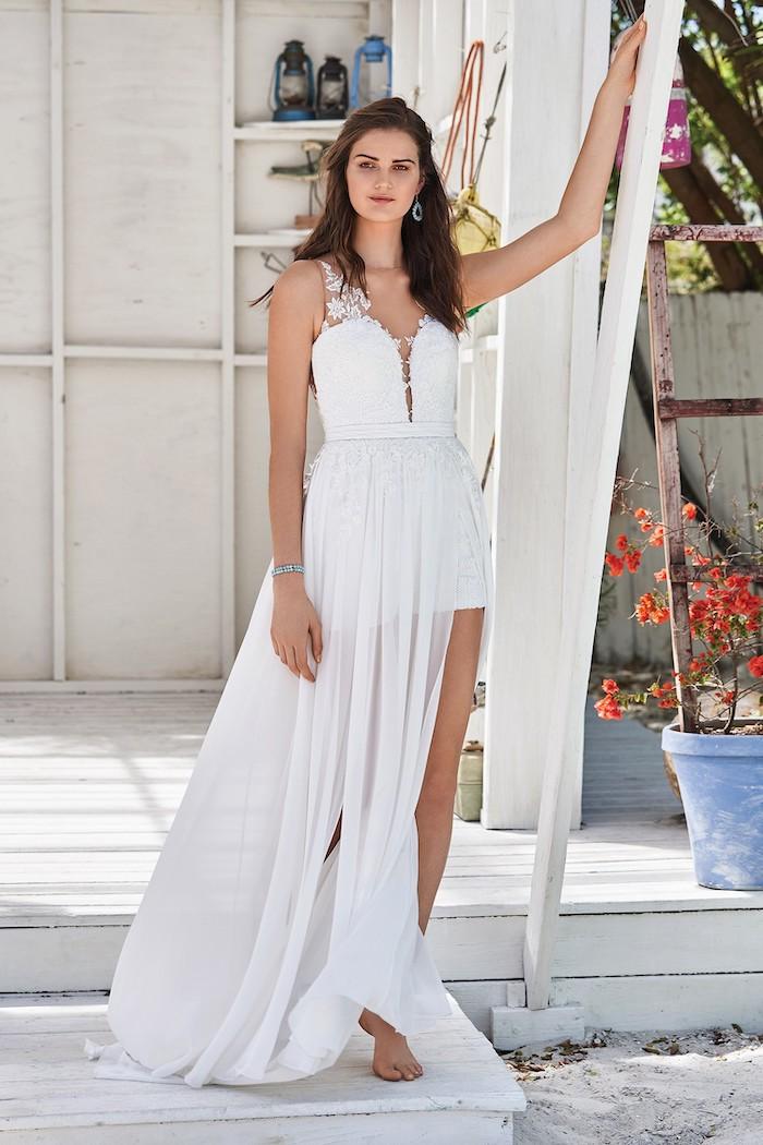 half long, half short, informal wedding dresses, long black hair, dress made of chiffon and lace