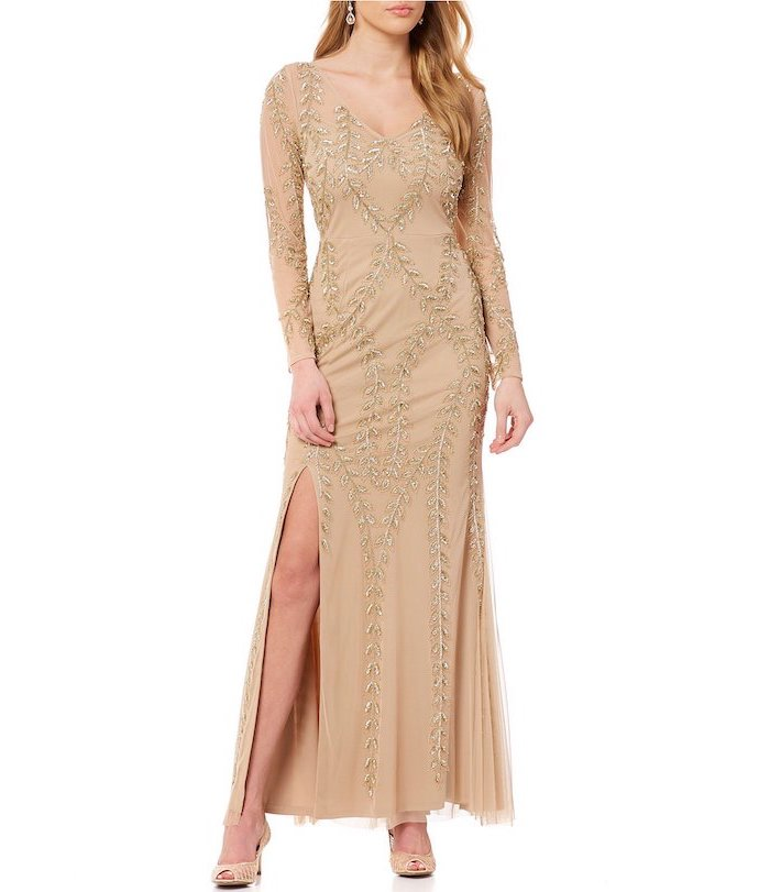 bridesmaid gown, gold sequins and chiffon, nude open toe shoes, blonde wavy hair