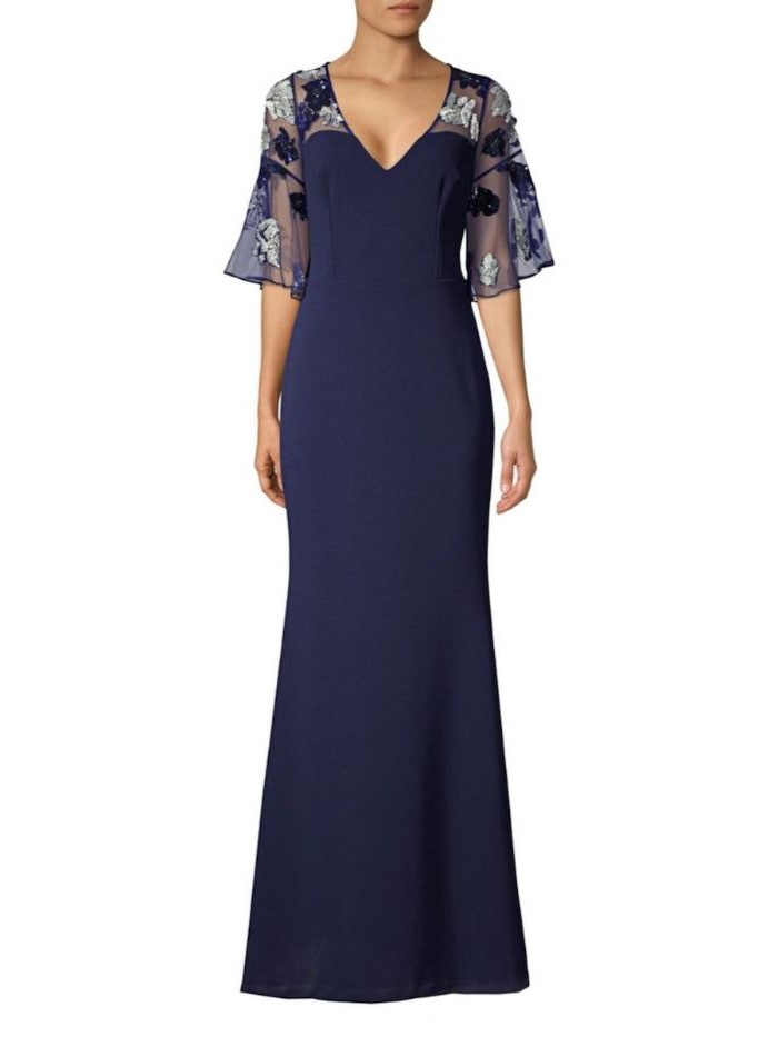 long blue dress, lace sleeves, v neckline, champagne mother of the bride dresses, white background