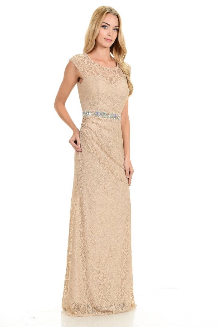 blonde wavy hair, lace dress, with belt, bridesmaid gown