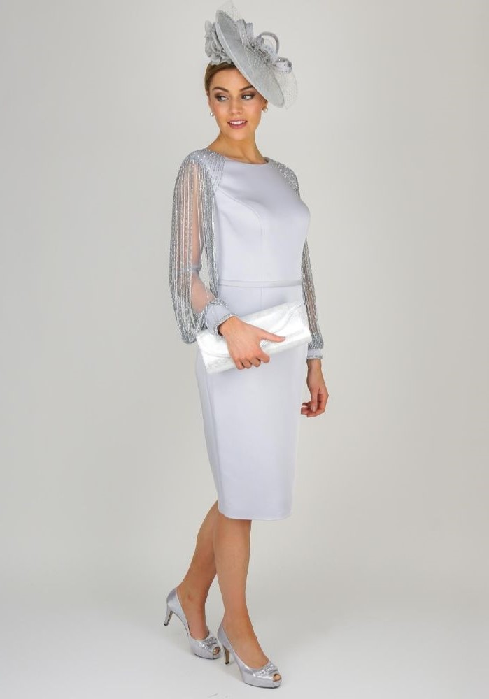 grey dress, below the knee, large hat, silver open toe heels, mother of the bride dresses long