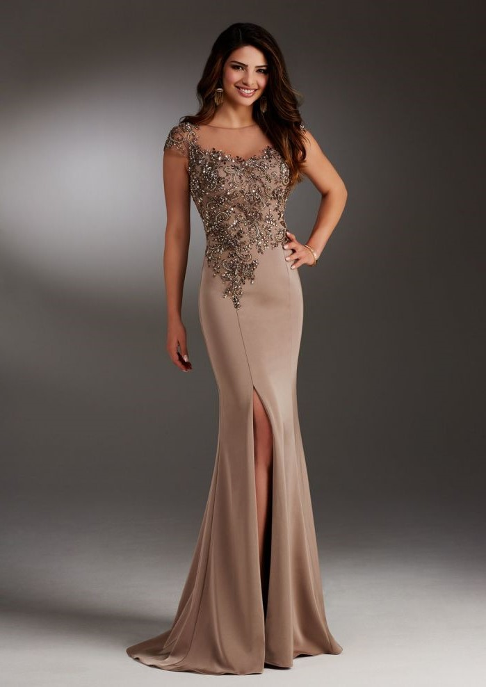 champagne dress, lace top, satin skirt with slit, long brown wavy hair, mother of the bride dresses long