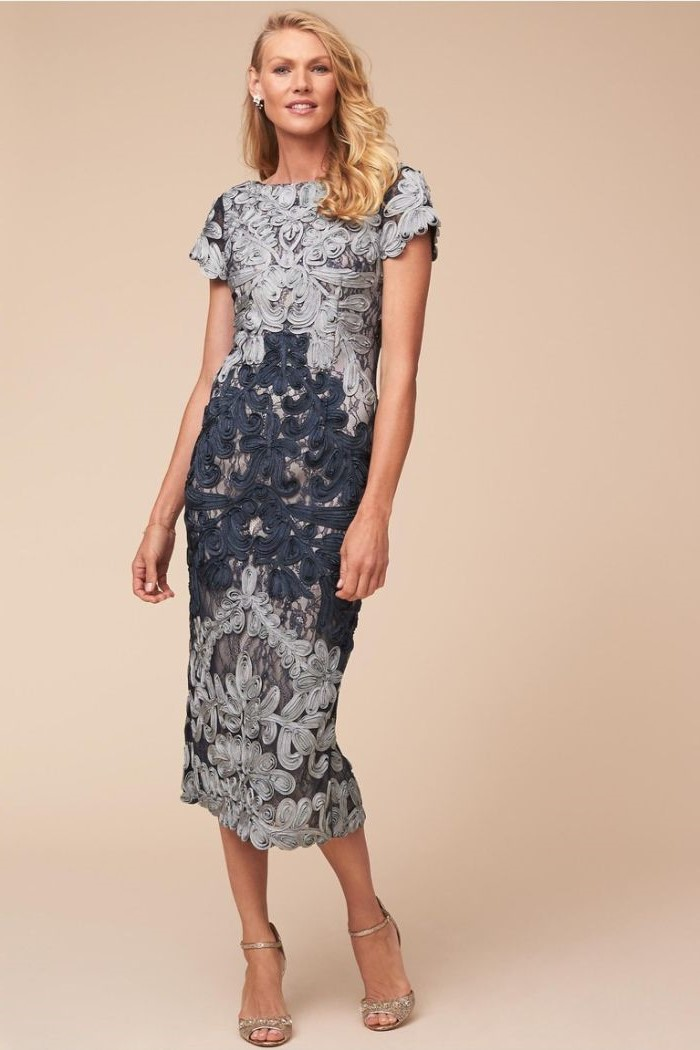 blue and grey, lace dress, short mother of the bride dresses, blonde wavy hair, silver sandals